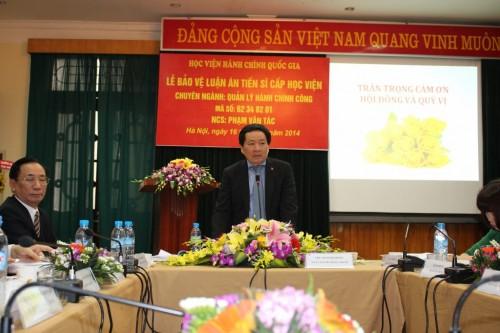 Lễ bảo vệ luận án Tiến sỹ của NCS Phạm Văn Tác – Vụ trưởng Vụ Tổ chức cán bộ